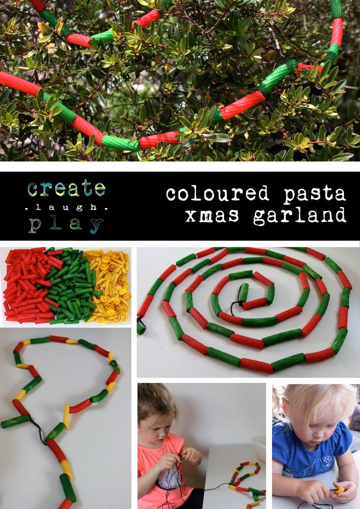 Coloured pasta garland for our Xmas tree. Can't wait to get the tree up and decorated.