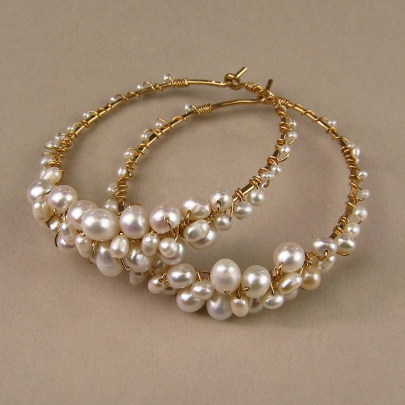 Freshwater Pearl Hoop earrings by EricaElizabethDesign on Etsy, $90.00