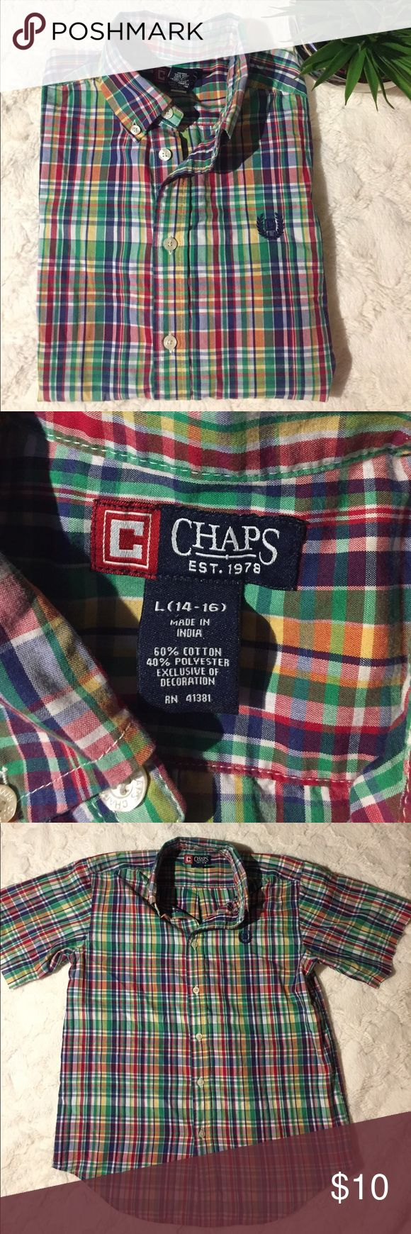 GUC Chaps Boys Short Sleeve Plaid Shirt, L (14-16) Good used condition. No rips tears or stains. Large, 14-16. Multicolor plaid green, yellow, purple, red & white. 60% cotton, 40% polyester. Button down point collar. Chaps Shirts & Tops Button Down Shirts