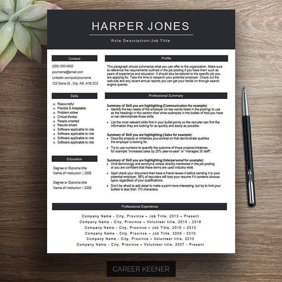 Professional resume template / cv template Functional