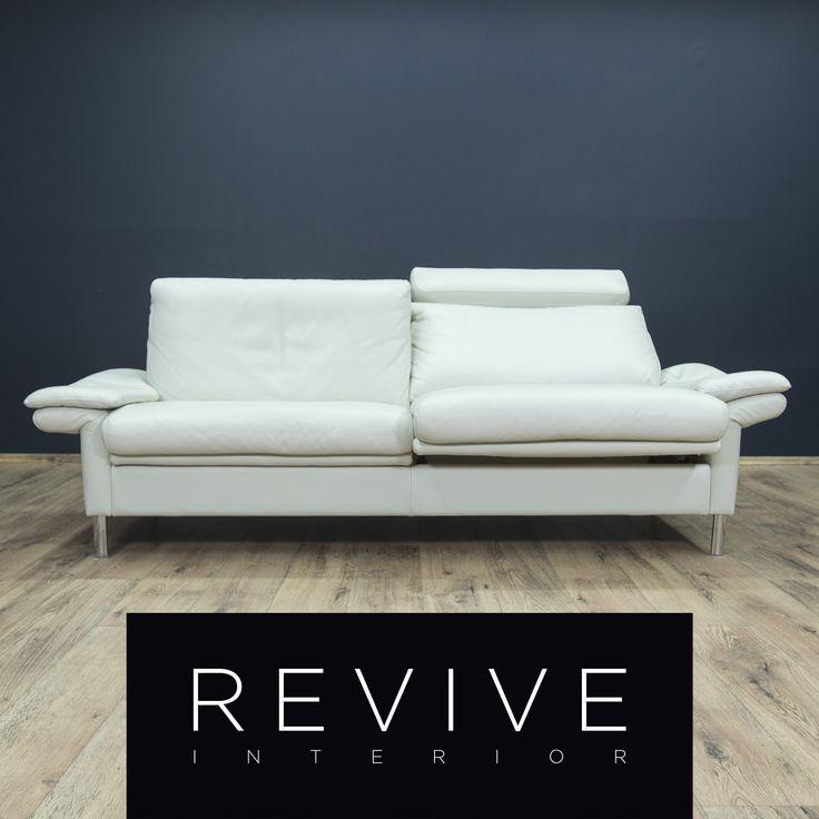 Ewald Schillig Designer Leder Sofa Weiss Zweisitzer Couch Relax