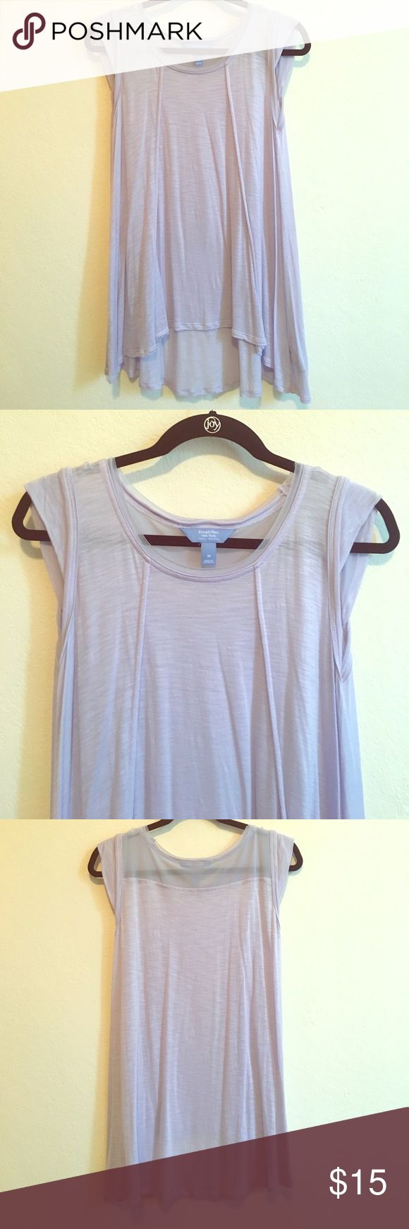 Simply Vera - Vera Wang Trapeze Top Trapeze short-sleeved top with sheer detail on back and neckline. Size M. Never worn. Simply Vera Vera Wang Tops Blouses