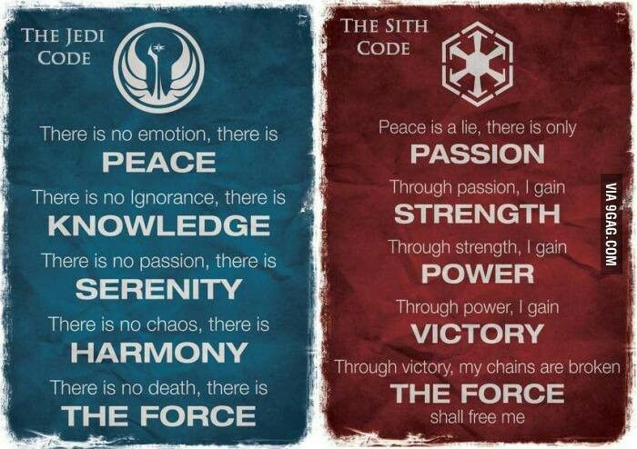 I think im gonna go with the sith code.