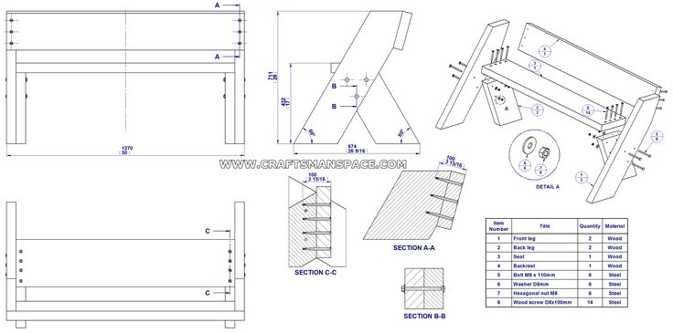 Aldo Leopold Bench Plan Assembly Drawing And Parts List