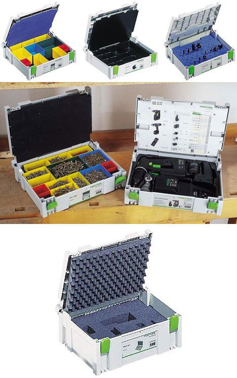 "Systainer mobile storage system by German company Tanos (sometimes marketed as Festool). Inserts available, preformed, user-arranged, or ""pick & pluck"" foam for customization. Drawer Systainers also available. Systainers stack on top of one another and can be wheeled away with a wheeled based. Sturdy enough to stand on - enough said!"