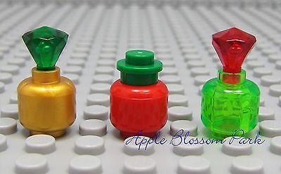 Lego Belville Minifig Display BOTTLES - Gold Trans-Green Red Jar/Head/Gem/Jewels