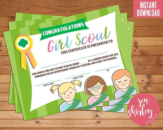 Girl Scouts Bridging Certificate, Girl Scouts Investiture Certificate, Bridge to Junior, Congratulations, Printable, Instant Download  This instant download is for a Bridge to Junior certificate for your troops bridging/investiture ceremony. Or just use it for your end of year