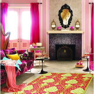 Hot Pink Ikat Area Rug | For my dressing room!