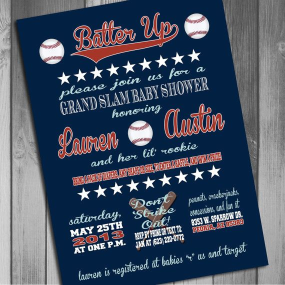 20 best images about baseball baby shower on pinterest | red, Baby shower invitations