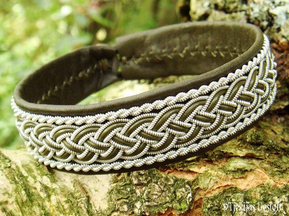 GIMLE Viking Sami Bracelet Cuff Handcrafted Swedish Lapland Olive Green Leather Bracelet with Pewter Braid and Antler Closure.