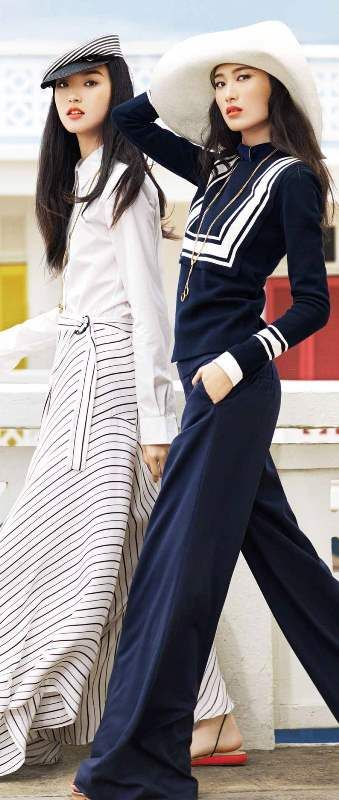 Nautical style   Vogue China January 2014 - editorials - <3 navy style for summer - blue and white