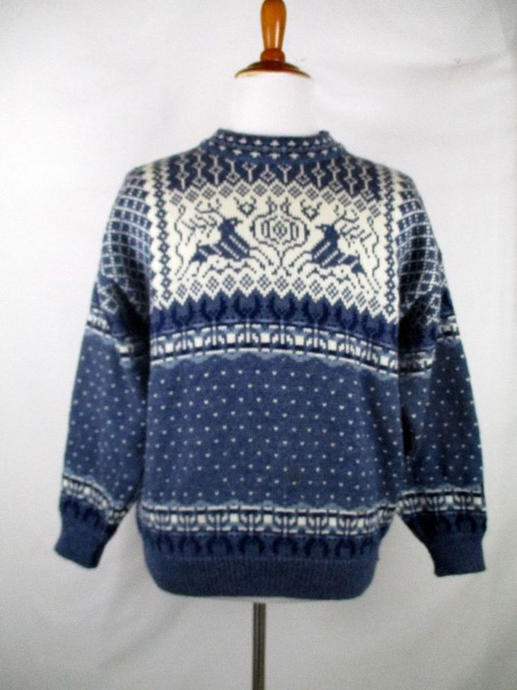 DALE OF NORWAY Men's Nordic Fair Isle Sweater Blue Crewneck M Medium #DaleOfNorway #Crewneck