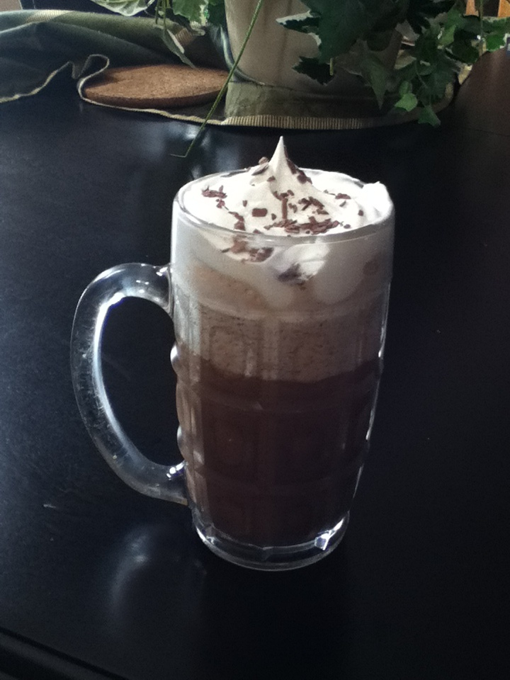 Magic bullet summer drink! 1cup coffee 1cup milk 1cup crushed ice 2Tbs chocolate sauce or powder 1-2Tbs sugar(if necessary)  Adjust to taste if necessary Put all together in magic bullet using tall cup with 4 bladed mixer and mix!