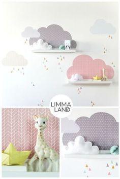 Wandtattoo Wolken MUSTA für IKEA Bilderleiste – Farbe Rosa/Grau