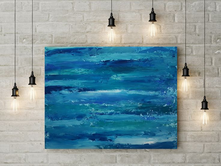 Living Room Decoration with Original Abstract Painting Sea Painting with Palette Knife Texture painting on paper by DeniseArtStudio on Etsy