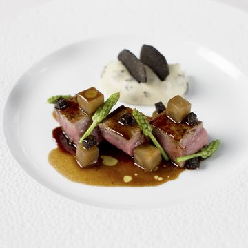 Umberto Bombana's recipe for veal, braised cherry with black winter truffle, truffle jus and whipped potato