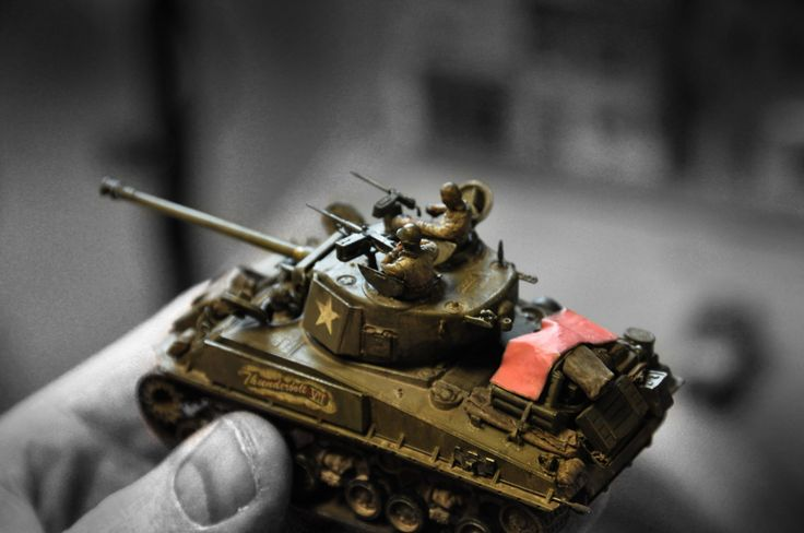 B/W Sherman tank.  (model built by my dad)