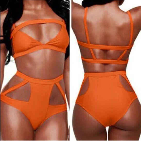 Gorgeous High waisted orange cut out bikini Bikini size L. Brand new never worn. Very cute addition to your summer swimsuit collection. Swim Bikinis