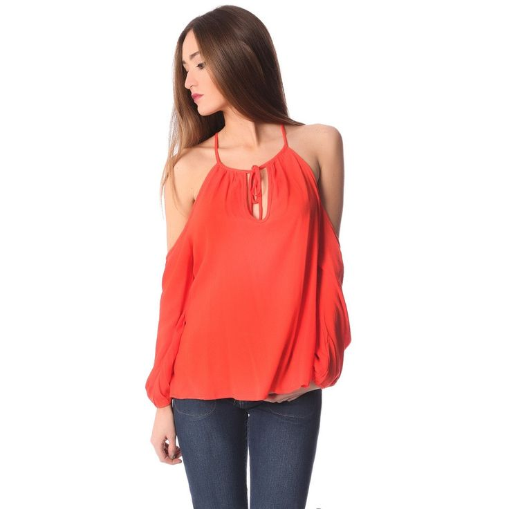 Orange long sleeve top with cold shoulders