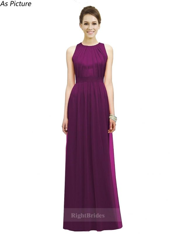 A-Line/Princess Jewel 2018 Long Chiffon Grape Bridesmaid Dresses ...