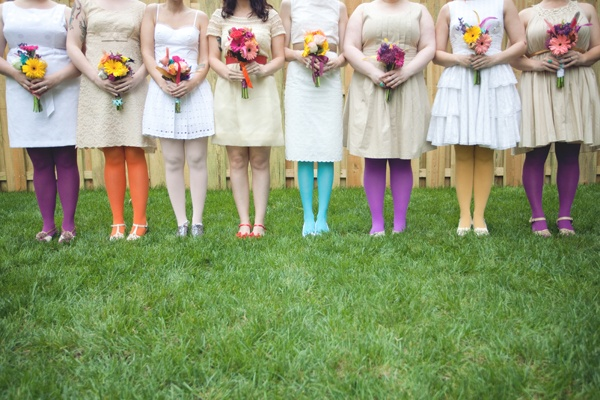 "Not a total spectrum but what a lovely idea for a wedding ""Hey bridesmaids - wear beige and strappy shoes, go wild with your legs and matching bouquets - OK? See you on the day""!!!"