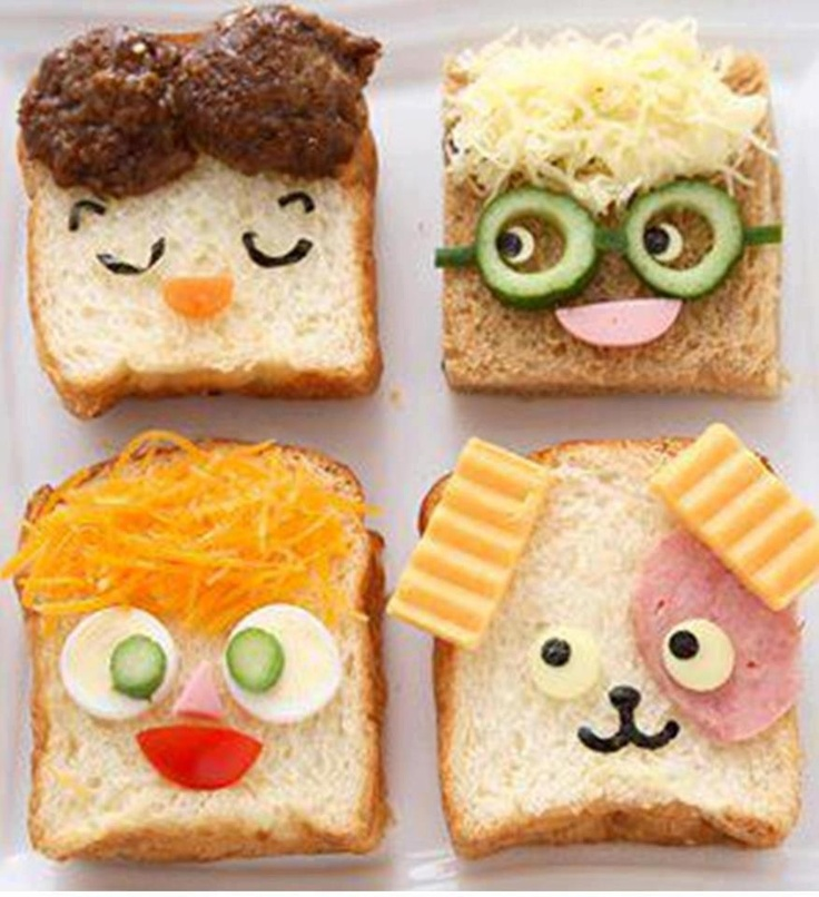 Put a smile on their face, with these funny face sandwiches!