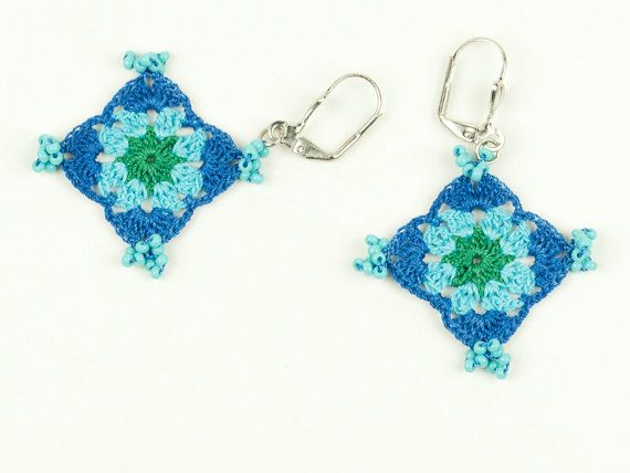 Blue & Turquoise Lace Earrings  Glass Beads  Green by PinaraDesign, $20.00
