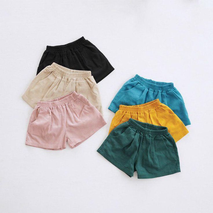 2018 Summer New Children's Clothing Linen Cotton Shorts Candy Color Hot Summ…