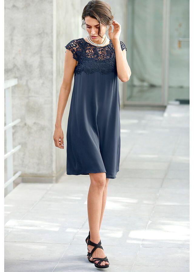 f123652508 Sukienka szyfonowa z koronką • ciemnoniebieski • bonprix sklep ...