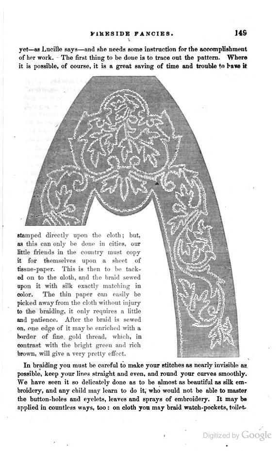 Pattern and instructions for a slipper of brown cloth (wool) and bright green Russia braid (soutache) edged with gold thread. From 'The Book of One Thousand Tales and Amusing Adventures: A Work for Youth,' 1858. Click through for text, which starts on preceding page.