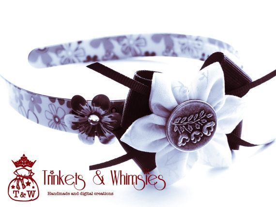 Dusk Blooms Kanzashi Flower Headband by TrinketsAndWhimsies, $10.00