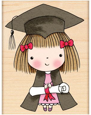 Penny Black Graduate Mimi - Rubber Stamp. A graduation-themed Penny Black wood mounted rubber stamp featuring Mimi with her diploma.