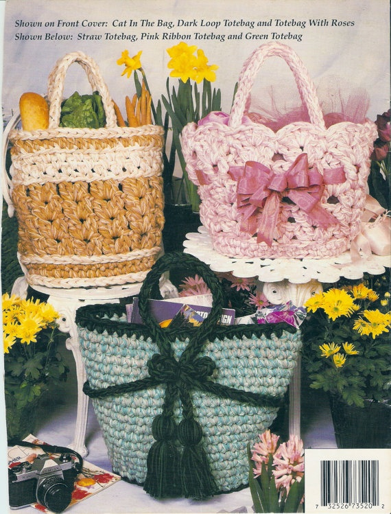 Free Crochet Patterns Using Q Hook : Annies Attic Q Hook Crochet Tote Bags Pattern Leaflet ...