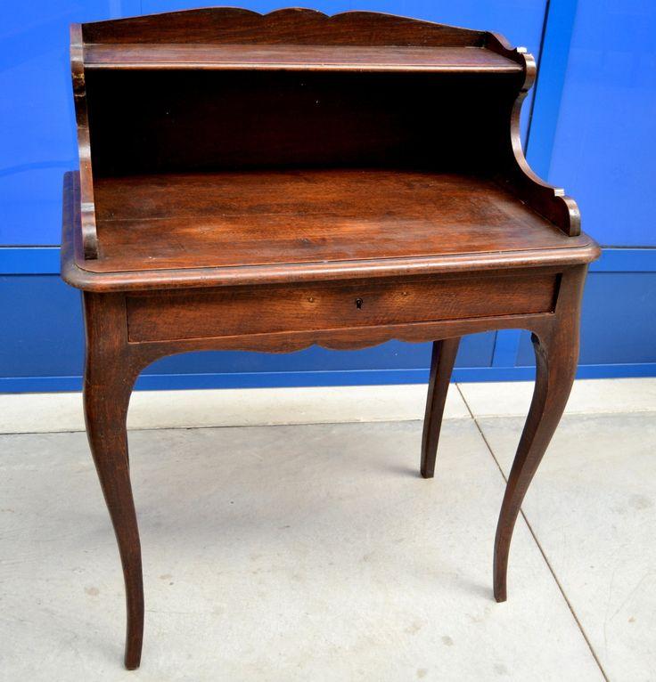 Piccola scrivania in rovere massello inizio '900 stile Luigi XV con alzata