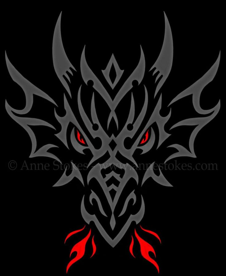 Tribal - Anne Stokes - Tribal dragon head