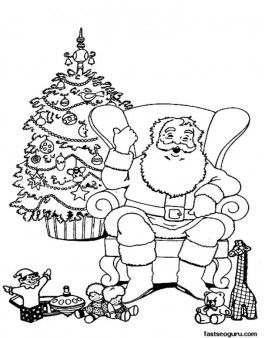print out christmas santa claus relaxing in chair coloring pages