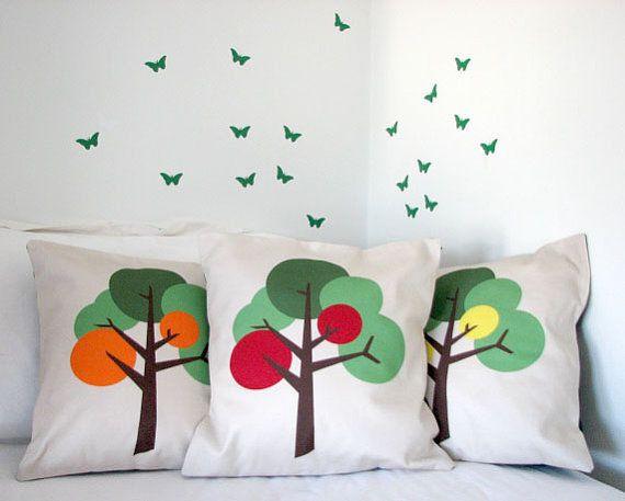 Modern Contemporary Cushion or Pillow by TheTinyBirdTextiles