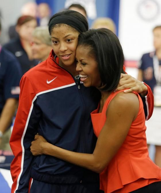 First Lady Hugs 2012 Olympic's Basketball Player Candace Parker London Olympics Michelle Obama ,  Go USA