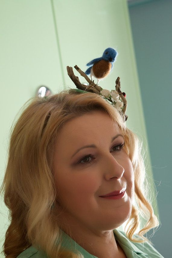 Needle felted bluebird hat quirky fascinator by TallBlueStarry