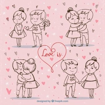 Cute vintage valentine couples sketches background