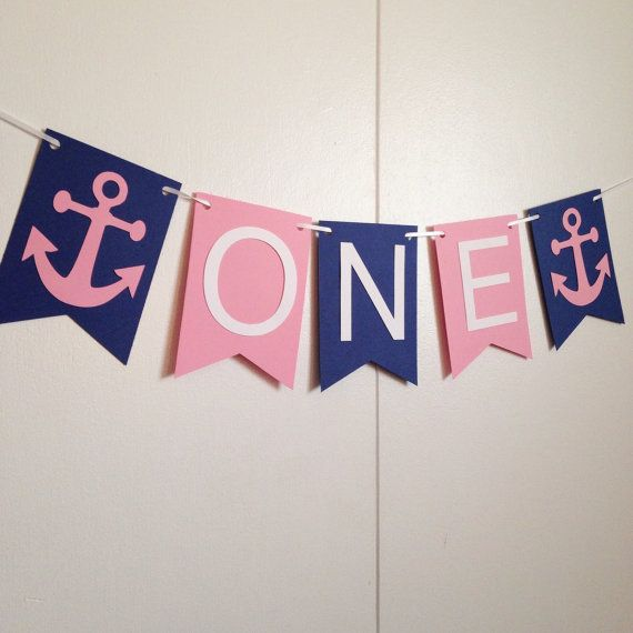 Nautical banner . Girl birthday banner . by twinepaperscissors
