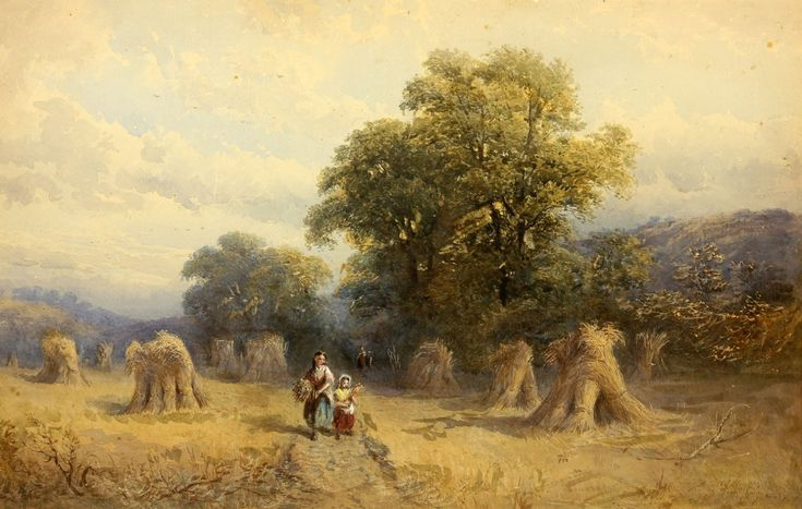 George Vicat Cole RA (1833–1893) - 1868 Watercolour, Mother and Child on Path
