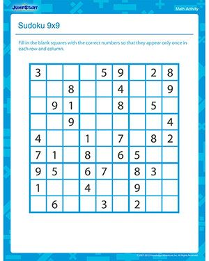 Sudoku 9x9 Printable Math Activity