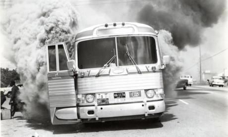 Never forget the courage and sacrifice of the Freedom Riders.  Firebombed Freedom Ride bus in Annison, Alabama, on Mother's Day, May 14, 1961.  Photo courtesy of the Birmingham Civil Rights Institute.