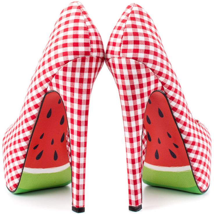 Fab.com | Melons Heels Red - These Melons Heels are gingham-patterned pumps featuring leather soles custom-printed with a mouth-watering watermelon design. Also available in black and blue gingham.
