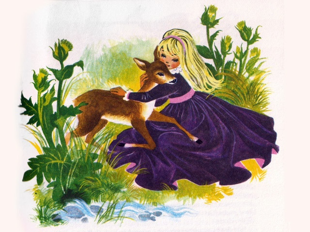 'Little Brother and Little Sister'  'The Golden Book of Fairytales' Collins Publishing, 1966,United Kingdom Illustration by Felicitas Kuhn