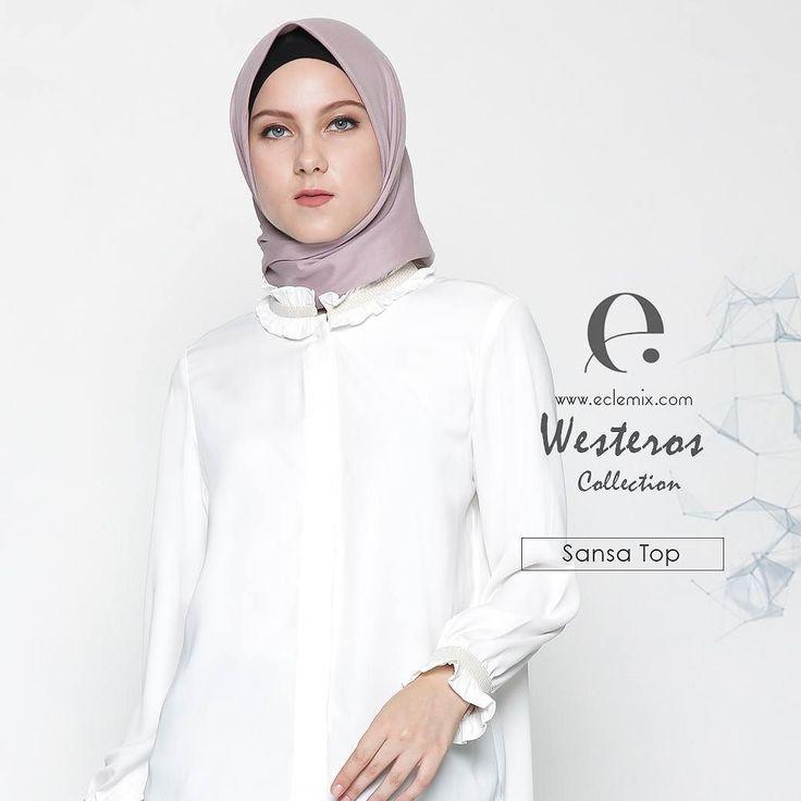 Ladies.. sudah pada tahu kan kemeja #putih adalah salah satu fashion item yang wajib ada di lemari kamu. Jangan pilih yang biasa ya tampil #extra #ordinary dengan sansa #top  kemeja putih klasik dengan sentuhan feminim dari eclemix. Be #unique with eclemix.  Available on www.eclemix.com and www.hijup.com  #eclemixcatalog  #eclemix #fashion #localbrandindonesia #hijab  #hijup #tshirt