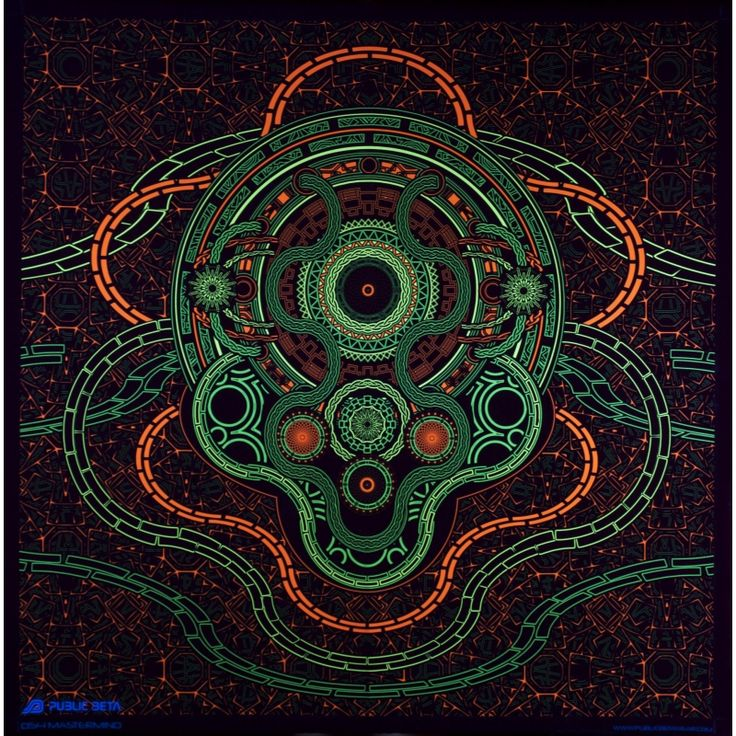 Mastermind UV D54 Wallhanging by Public Beta Wear Psychedelic designs for wall deco. Glows in blacklight. 3D effect with special Chromadepth glasses.