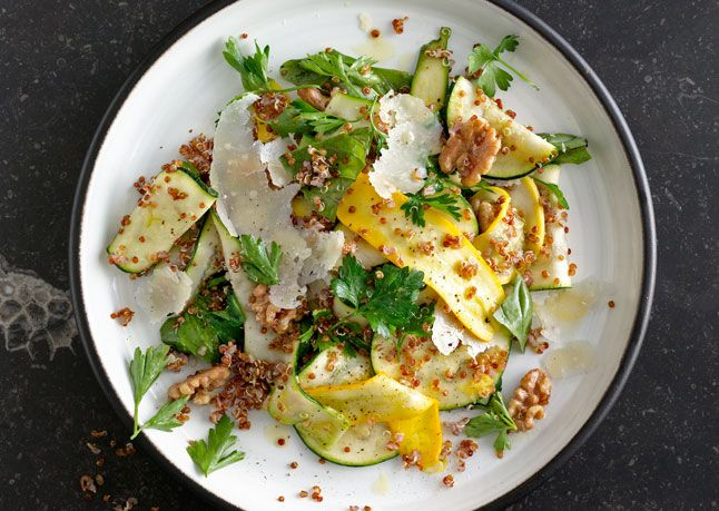 Summer Squash and Red Quinoa Salad with Walnuts by bonappetit: Use medium and small squash for the best flavor. Quinoa and walnuts (or a grain and nut of your choosing) add heft. #Salad #Squash #Quinoa