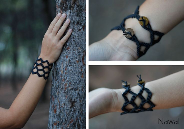 Gothic style macrame bracelet, made of black waxed cord and wooden button clasps!